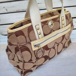 Coach Daisy F14878 Monogram Tan/Brown Tote Shoulder Bag